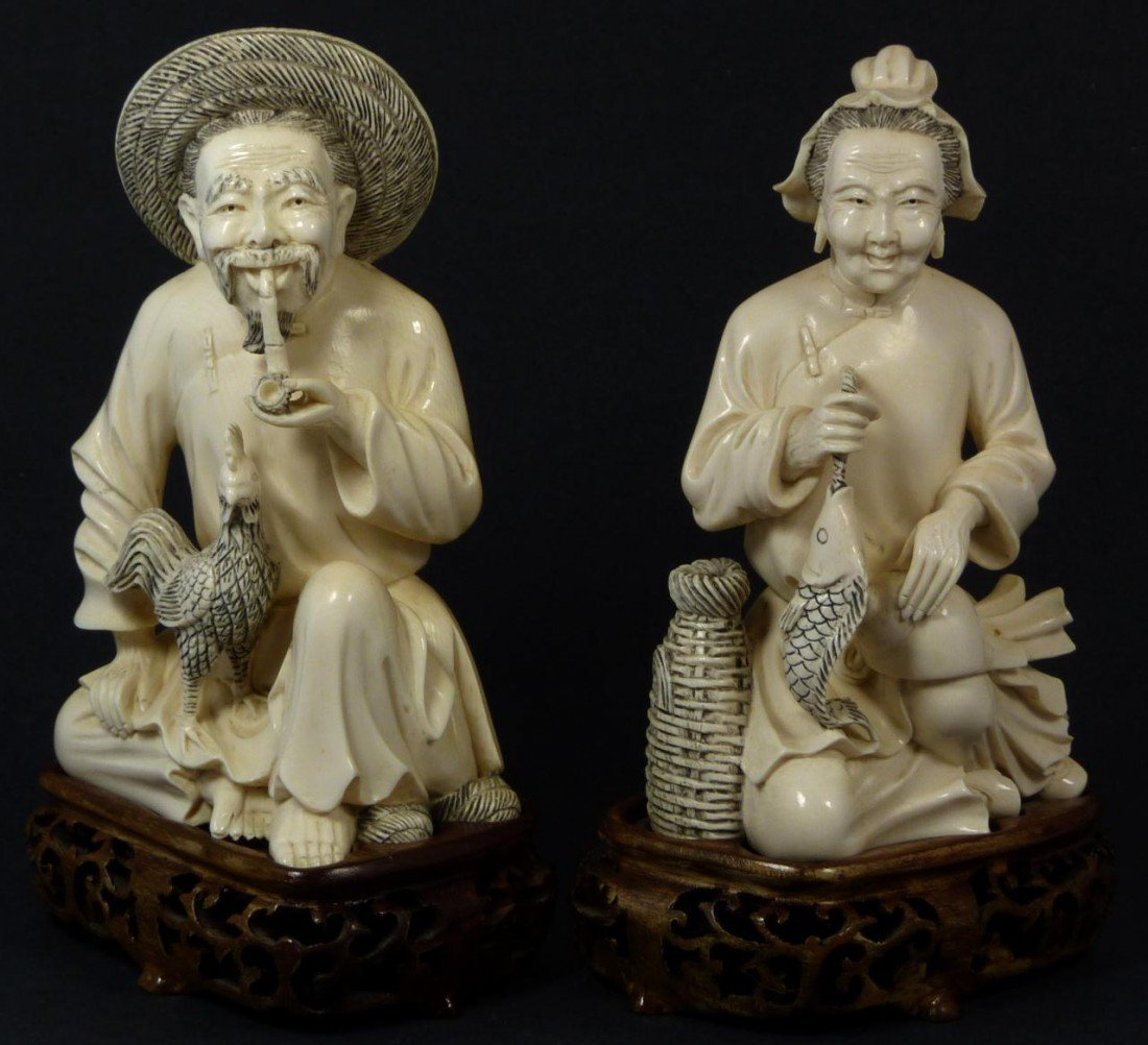 3: PAIR CHINESE CARVED IVORY ELDERLY COUPLE FIGURES