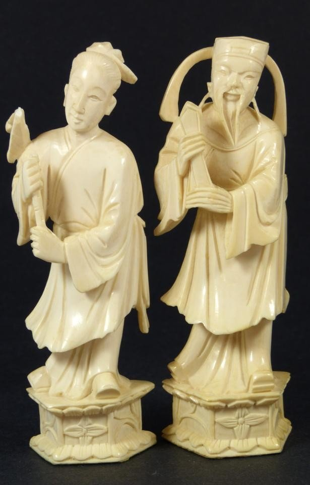 4: PAIR OF CHINESE CARVED IVORY NOBLE FIGURES