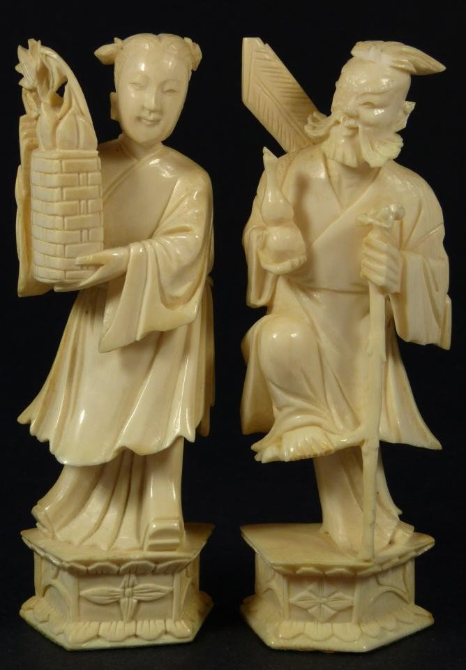 6: PAIR OF CHINESE CARVED IVORY NOBLE FIGURES
