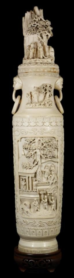 89: 19th C. CHINESE CARVED IVORY LIDDED VESSEL SIGNED