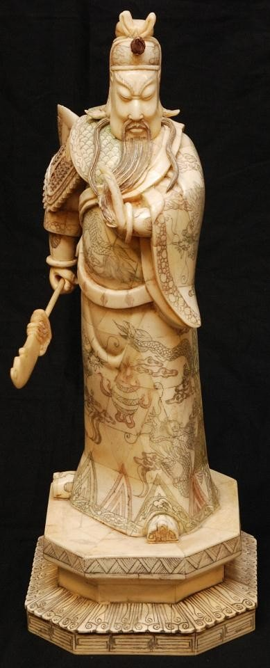 5: CHINESE CARVED & POLYCHROMED BONE WARRIOR FIGURE