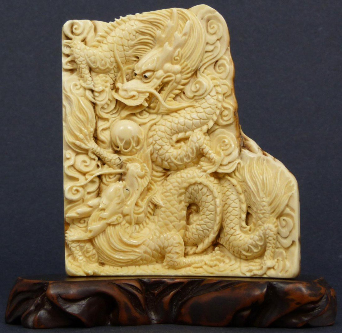10: CHINESE CARVED MAMMOTH IVORY DRAGON PLAQUE
