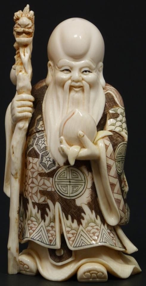 8: JAPANESE CARVED & POLYCHROMED FIGURE OF WISEMAN