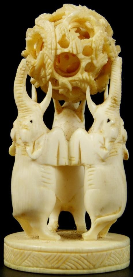 9: CHINESE IVORY CONCENTRIC BALL & ELEPHANT STAND
