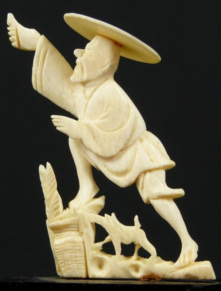 11: CHINESE CARVED IVORY FIGURE OF ELDERLY MAN w/ DOG