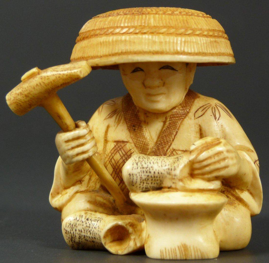 15: JAPANESE CARVED IVORY OKIMONO SHOE COBBLER FIGURE