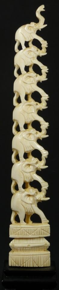 16: CHINESE CARVED IVORY GRADUATED ELEPHANT TOWER