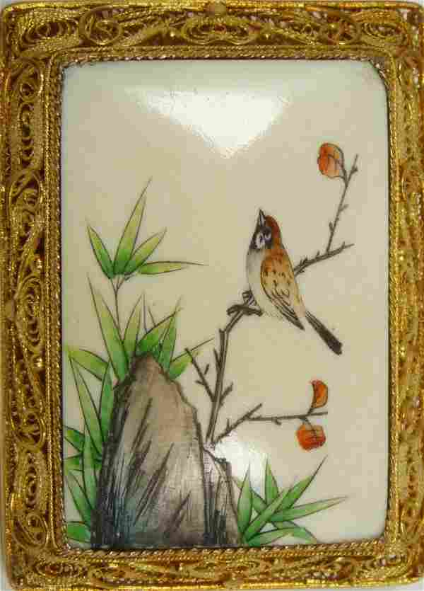 CARVED & PAINTED IVORY PLAQUE IN VERMEIL FRAME PIN