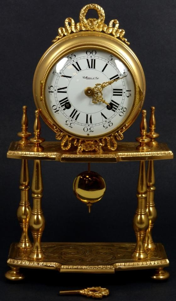 5: ANTIQUE GERMAN BRASS HERMLE MANTLE CLOCK
