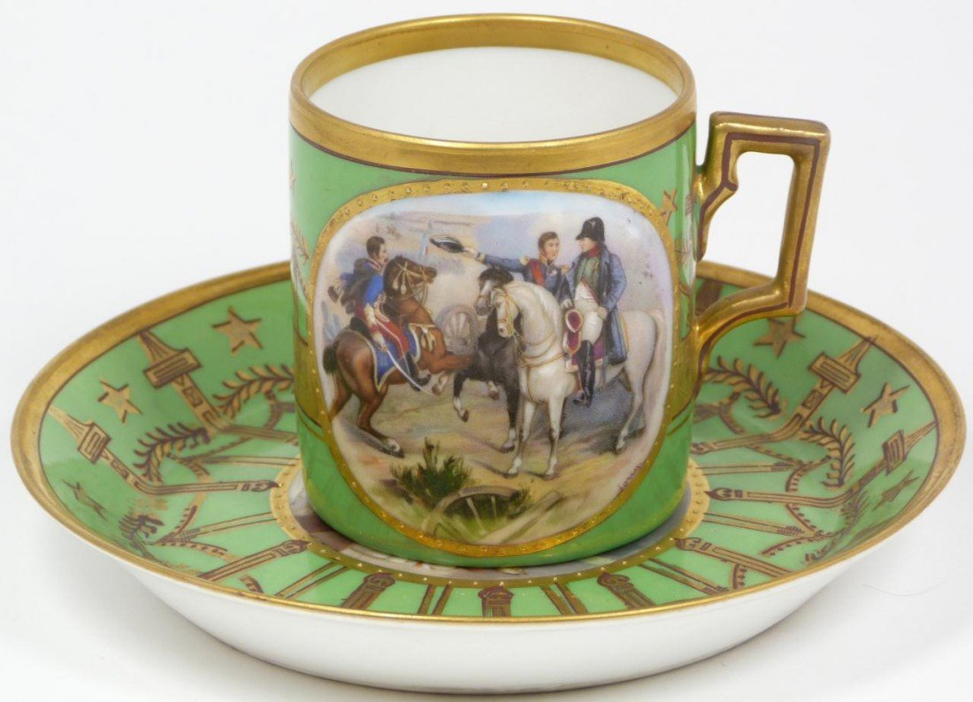6: ANTIQUE HAND PAINTED NAPOLEON CUP & SAUCER