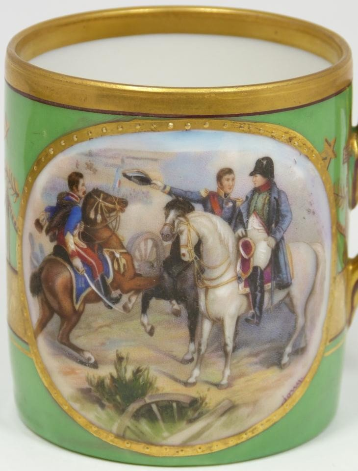 6: ANTIQUE HAND PAINTED NAPOLEON CUP & SAUCER - 2