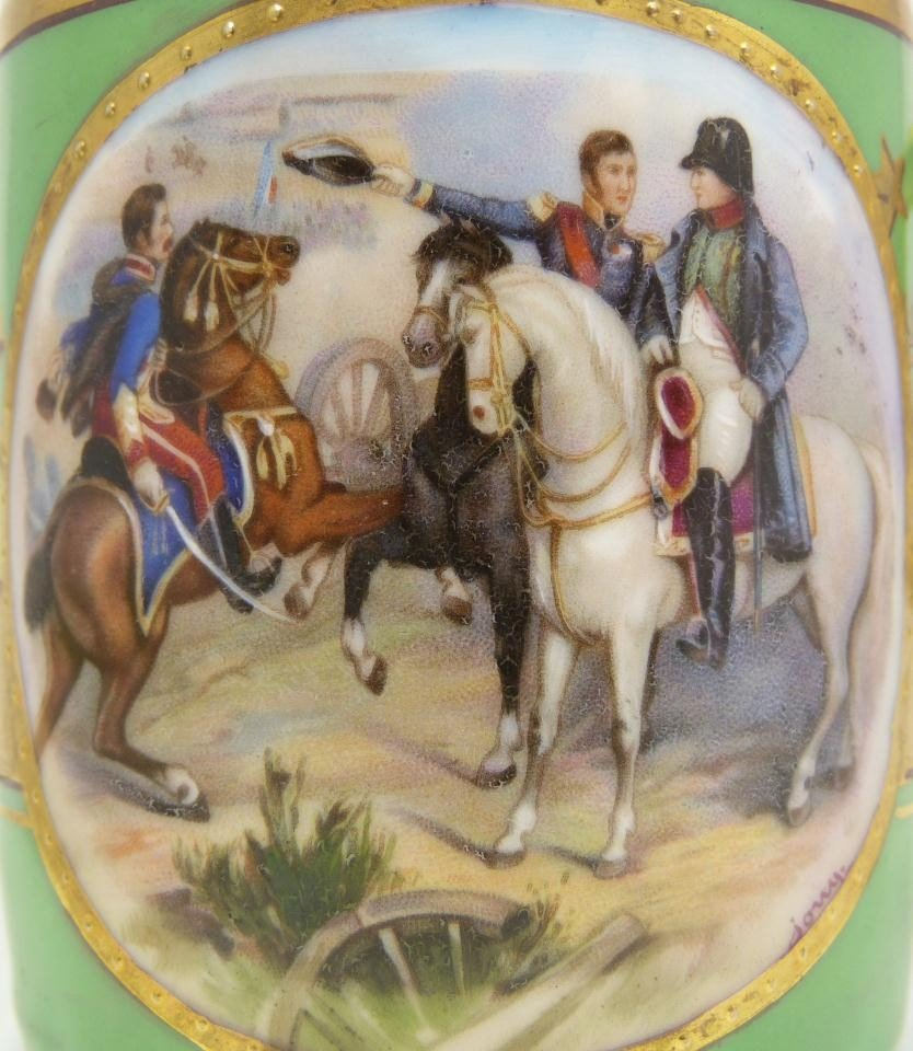6: ANTIQUE HAND PAINTED NAPOLEON CUP & SAUCER - 3