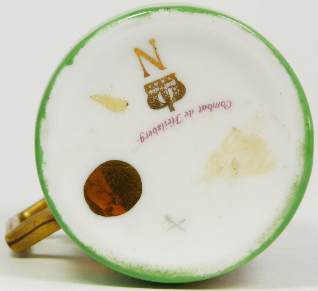 6: ANTIQUE HAND PAINTED NAPOLEON CUP & SAUCER - 6