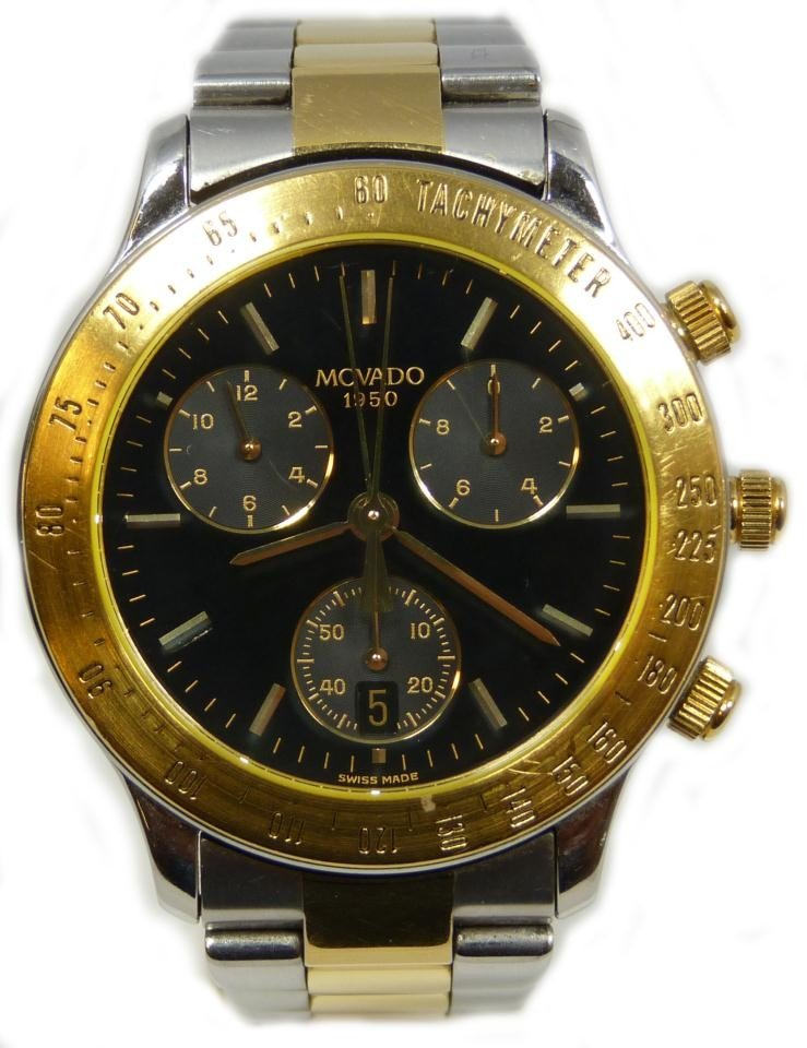 23: MOVADO S/S TWO TONE 1950 SERIES CHRONOGRAPH
