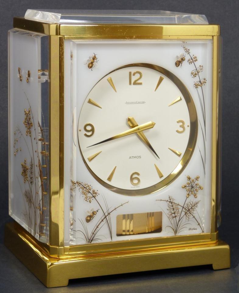 113: LECOULTRE ATMOS WHITE CARAVELLE MANTLE CLOCK
