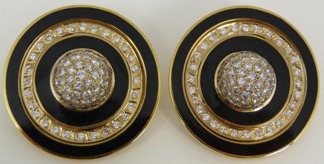 24: 14K YELLOW GOLD DIAMOND & BLACK ENAMEL EARRINGS