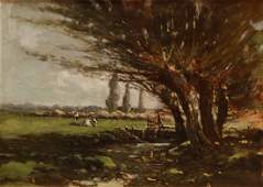 LANDSCAPE PAINTING OIL ON CANVAS SIGNED GRUPPE