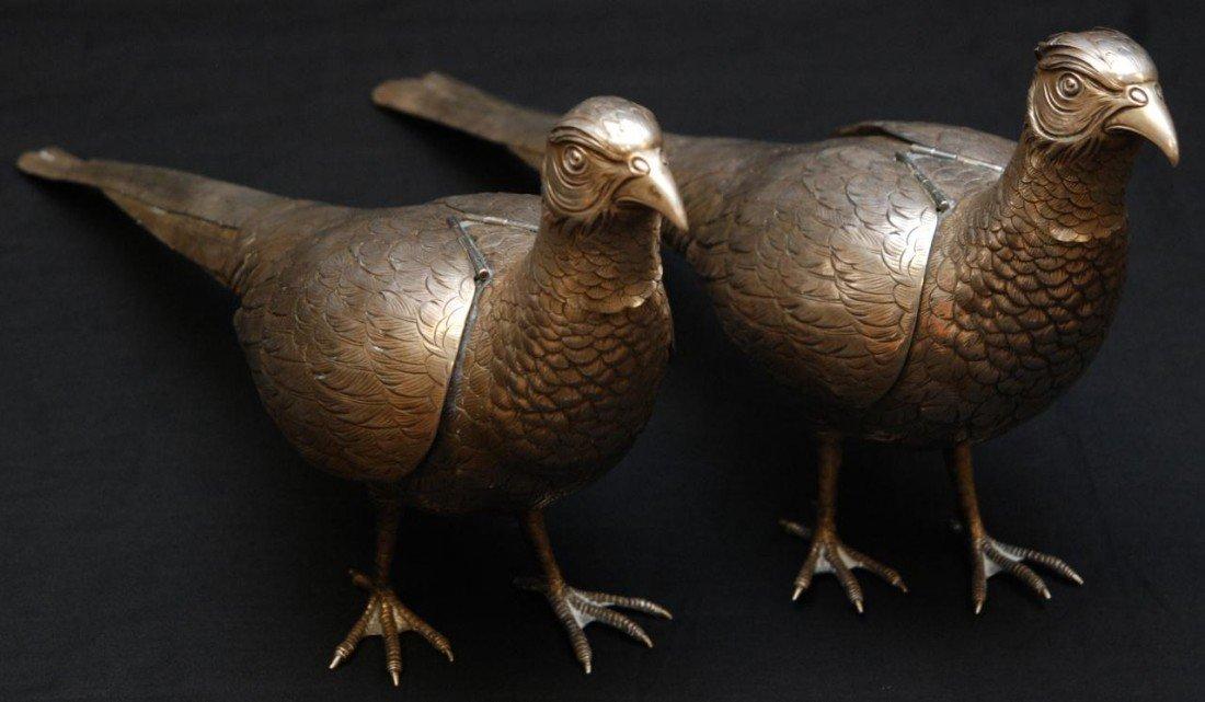 72: Pr OF ANTIQUE GERMAN SILVER PHEASENT BIRD VESSELS