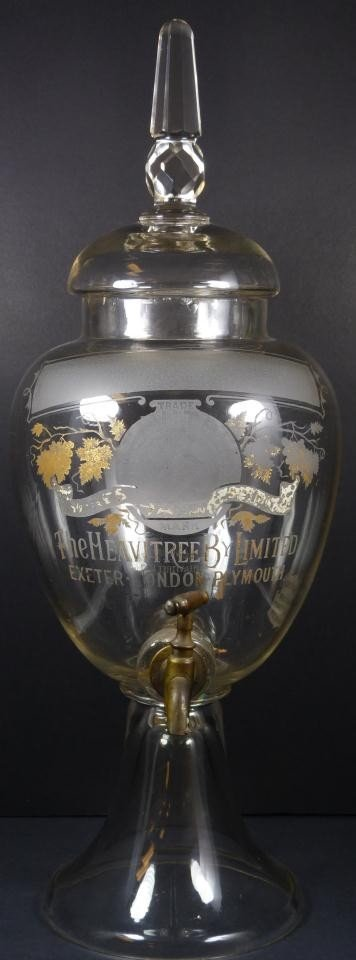 251: ANTIQUE ENGLISH ETCHED GLASS WINE DISPENSER
