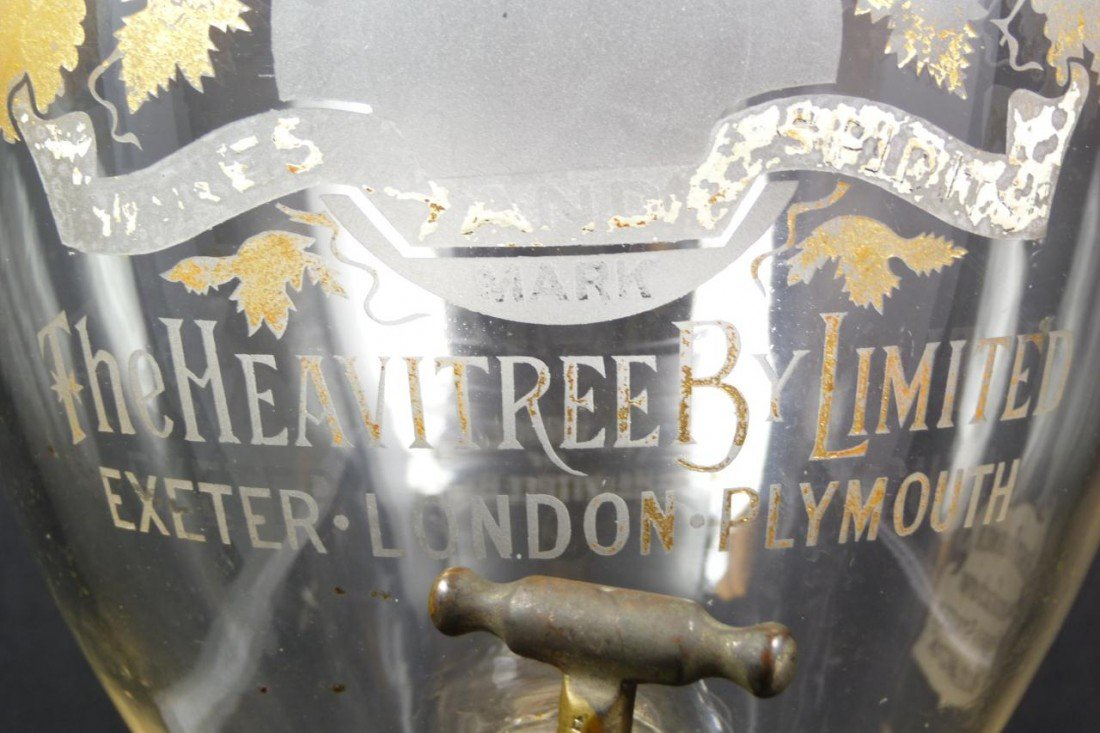 251: ANTIQUE ENGLISH ETCHED GLASS WINE DISPENSER - 3