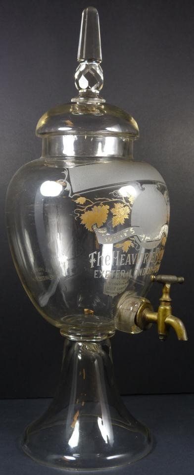 251: ANTIQUE ENGLISH ETCHED GLASS WINE DISPENSER - 4