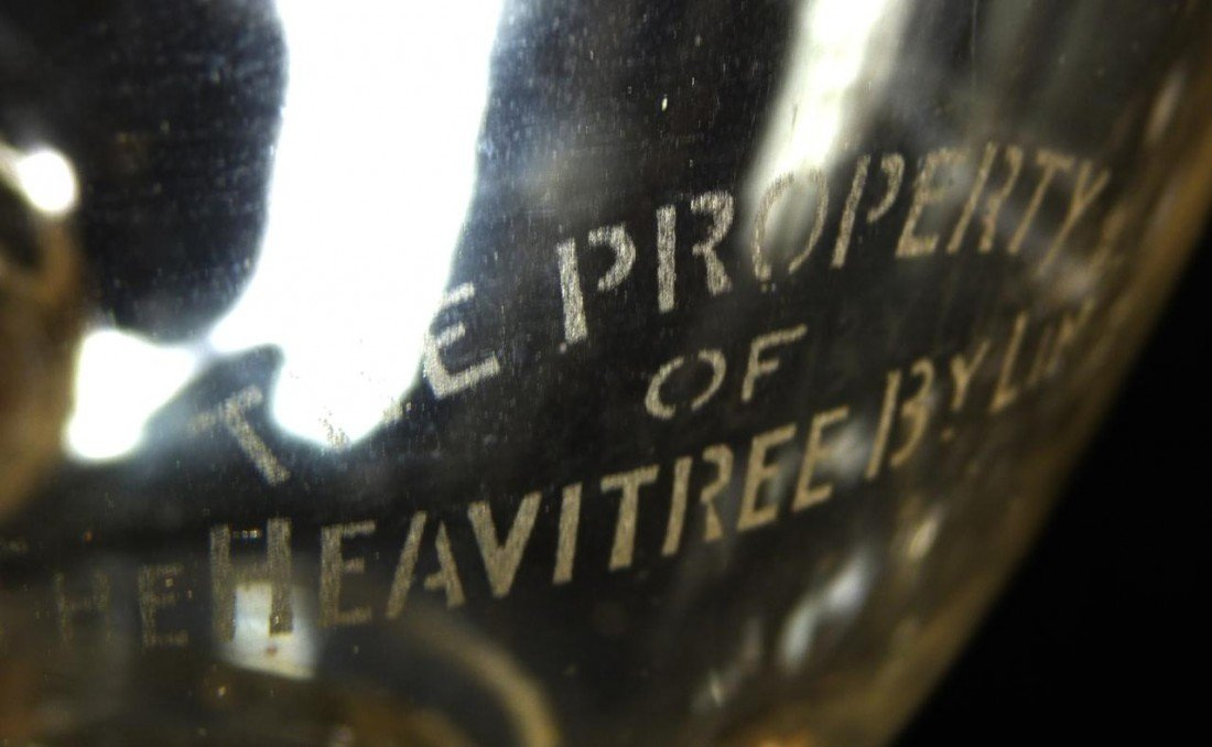 251: ANTIQUE ENGLISH ETCHED GLASS WINE DISPENSER - 8