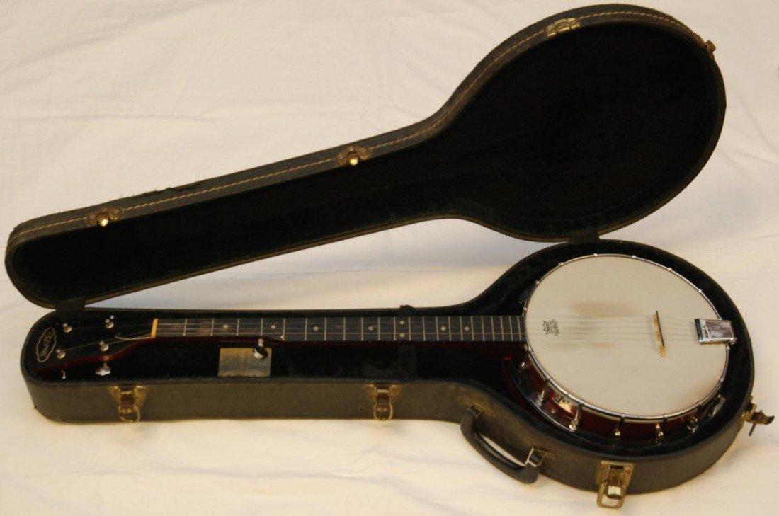 355: 1950's CHERRY FINISH STRAD-O-LIN 5 STRING BANJO - 10