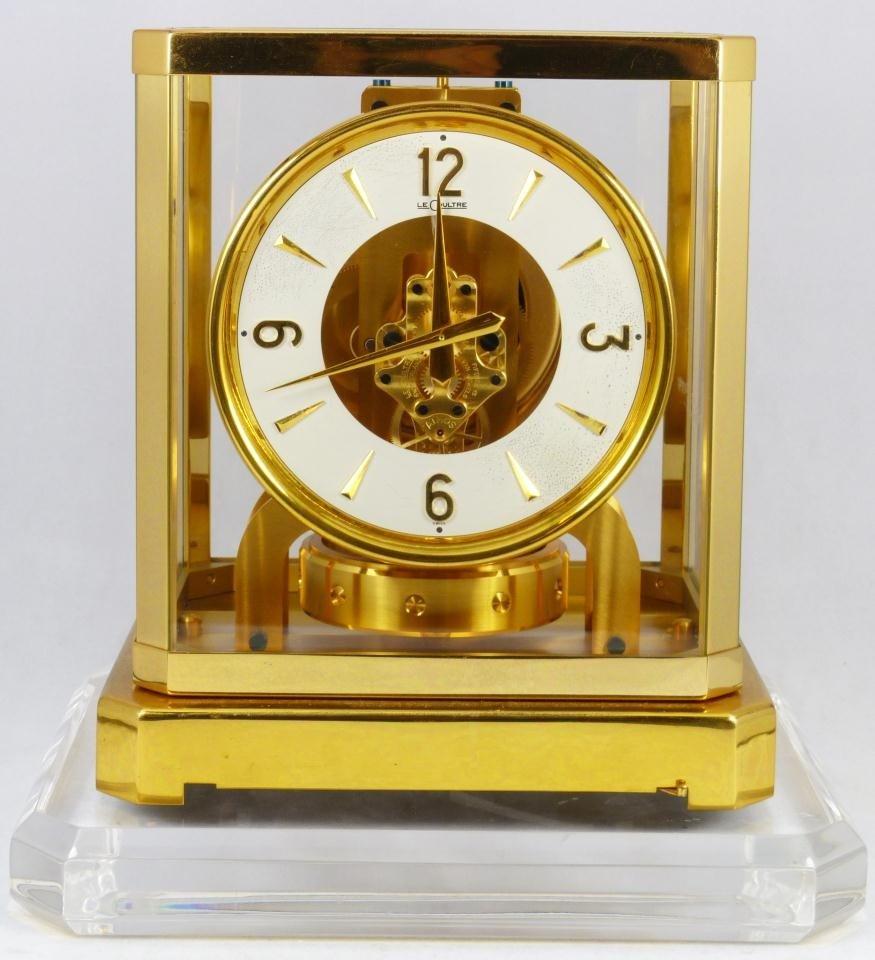 14: LE COULTRE BRASS MANTLE CLOCK w GLASS CASE