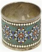 284 ANTIQUE RUSSIAN SILVER AND ENAMEL NAPKIN RING
