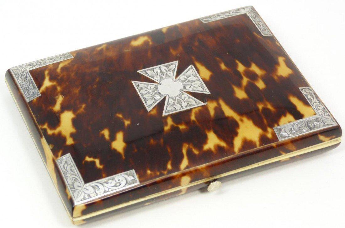 2: ANTIQUE ENGLISH TORTOISE SHELL CARD CASE