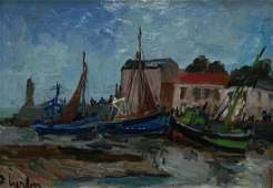 172: FERNAND HERBO OIL PAINTING OF FRENCH COAST