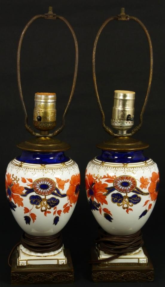 2: Pr OF ANTIQUE ENGLISH PORCELAIN FLORAL VASE LAMPS