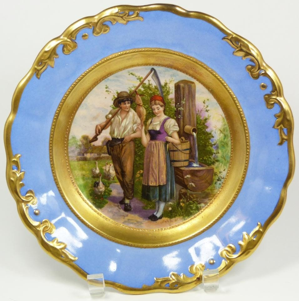 3: ANTIQUE ROYAL VIENNA AUSTRIA FARM SCENE PLATE