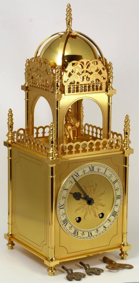 8: LUXOR SWISS MADE FIGURAL BRASS MANTLE CLOCK