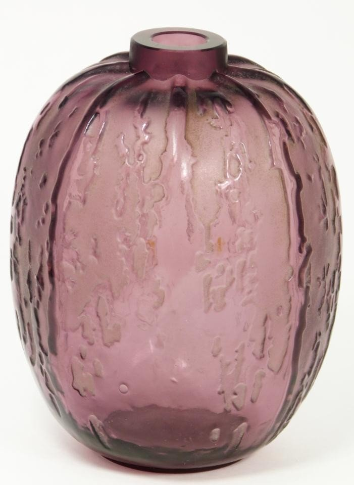 17: R LALIQUE FRENCH PLUM CRYSTAL FONTAINES VASE