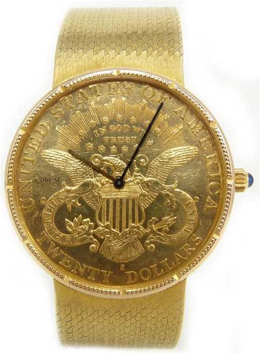 3c2fbdad124e2 70  CORUM 18K GOLD GENTS 1897  20 LIBERTY COIN WATCH