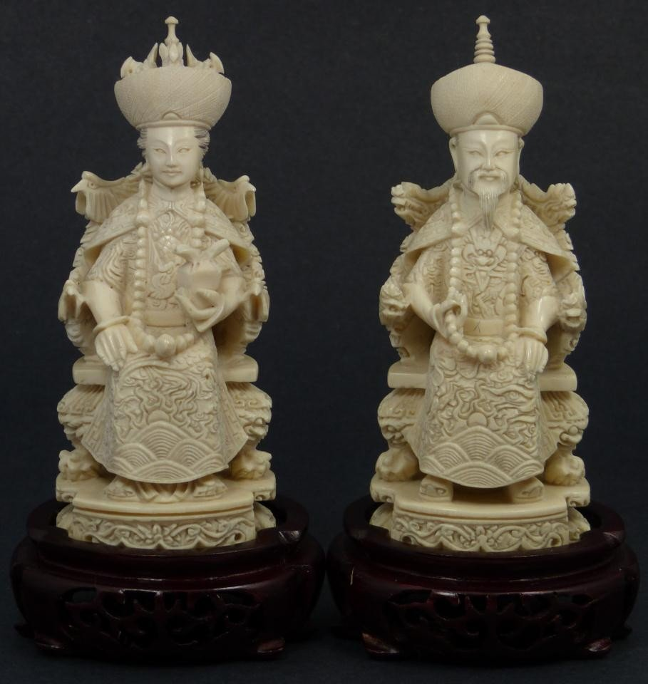 1: CHINESE CARVED IVORY EMPEROR & EMPRESS FIGURES