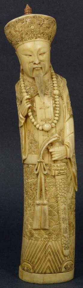 3: CHINESE CARVED FAUX IVORY EMPEROR w/ SWORD