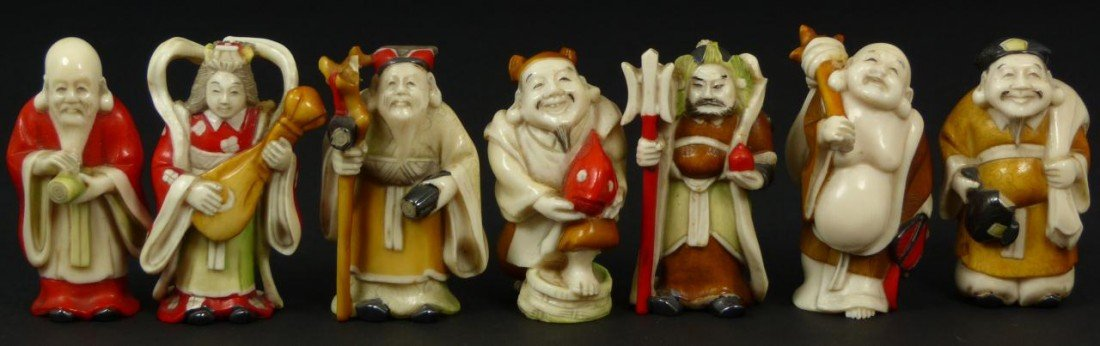 9: CHINESE SEVEN IMMORTALS POLYCHROMED IVORY FIGURES