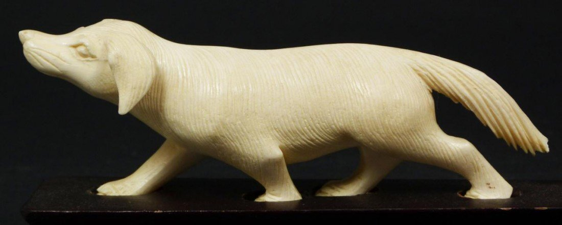 15: CHINESE HAND CARVED IVORY FIGURE OF DOG