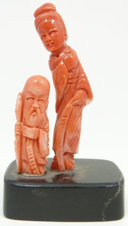 17: CHINESE HAND CARVED CORAL SHOU & MAIDEN FIGURES