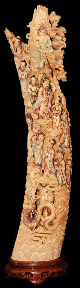 120: INTRICATELY CARVED & PAINTED CHINESE IVORY TUSK