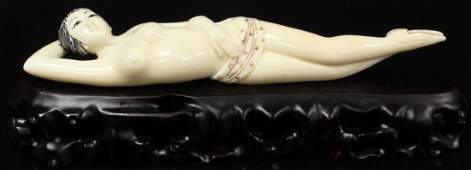 435: CHINESE CARVED IVORY DOCTORS LADY NUDE FIGURE