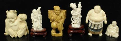 509 6 CHINESE  JAPANESE IVORY FIGURE CARVINGS