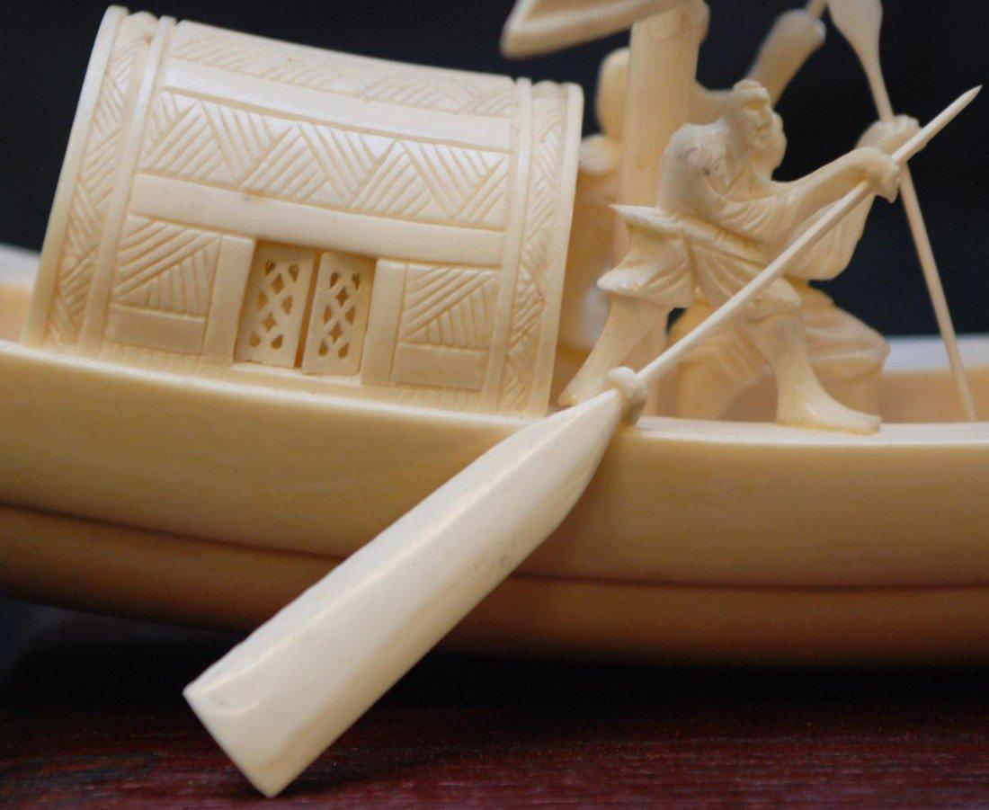211: CHINESE HAND CARVED IVORY ELEPHANT TUSK BOAT - 7