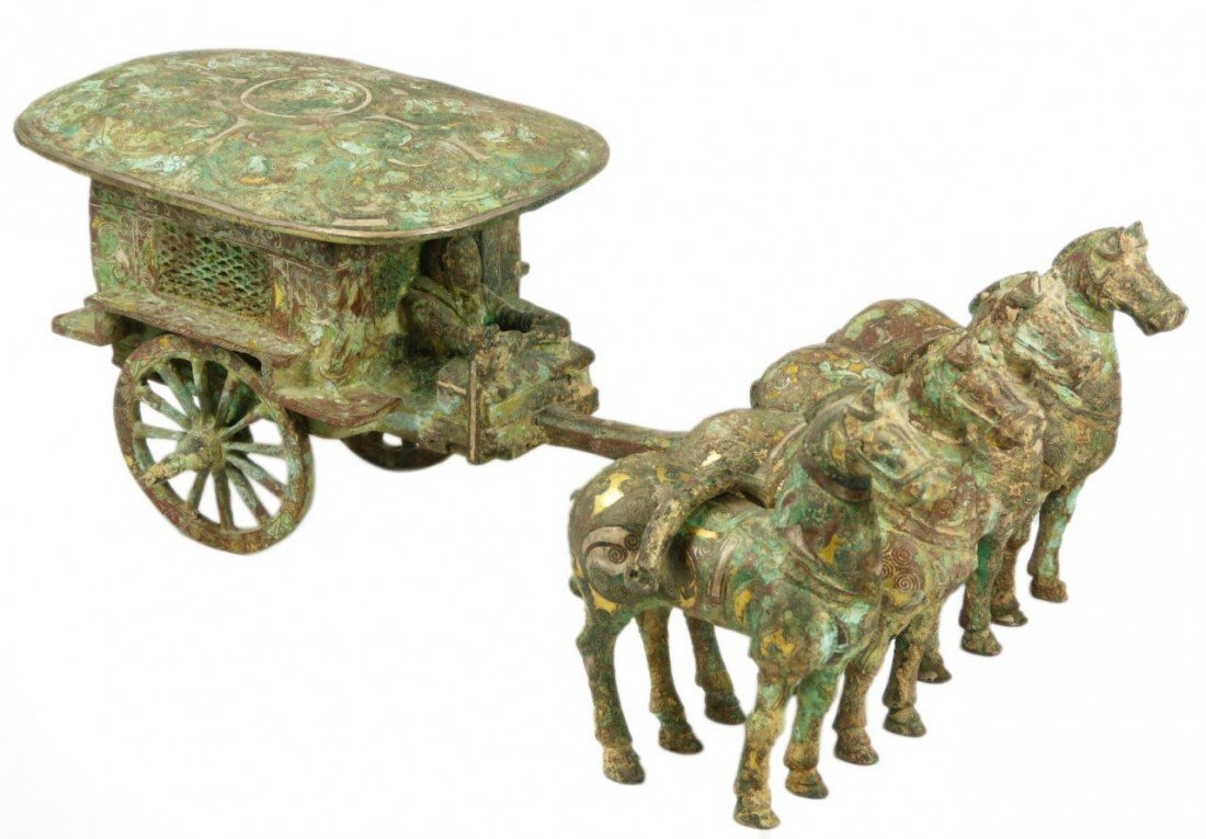 102A: CHINESE QIN LOST WAX CAST BRONZE CHARIOT w HORSES