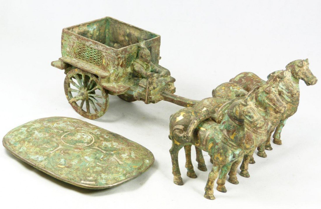 102A: CHINESE QIN LOST WAX CAST BRONZE CHARIOT w HORSES - 2