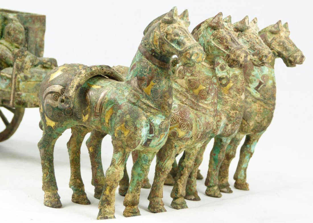 102A: CHINESE QIN LOST WAX CAST BRONZE CHARIOT w HORSES - 4