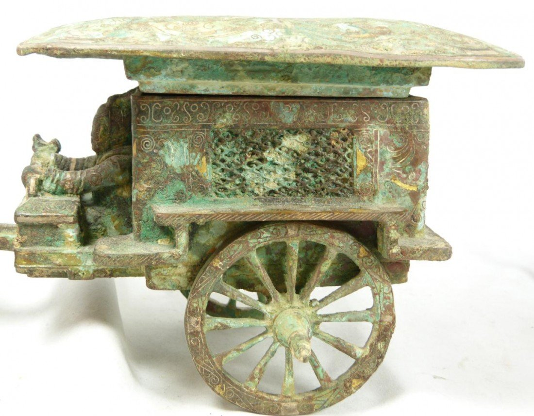 102A: CHINESE QIN LOST WAX CAST BRONZE CHARIOT w HORSES - 6