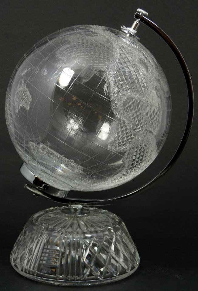 6: WATERFORD CUT CRYSTAL GLOBE ON STAND